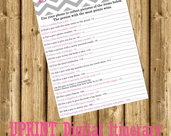 INSTANT DOWNLOAD - Bachelorette Party or Hens Party Game - Scavenger Hunt Pink Chevron