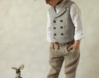 Ring bearer outfit wedding party outfit toddler boy linen vest for Festliche blazer