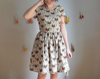 Orange & Grey Fox Print Dress / XS S M L XL / Fall - Vixen Dress