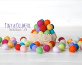 50 Tiny Wool Felt Balls - Colorful Felt Balls - 1.5CM Wool Felt Balls - (15mm) - 100% Wool Felt Pom Poms - Felt Balls - Single Color Pack