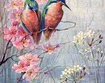 Stunning Humming BIRDS On Spring Dogwood Branch. Vintage Bird Illustration.  Digital Bird DOWNLOAD. Printable Bird Image.
