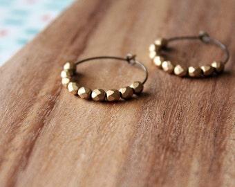 matte gold czech glass hoop earrings