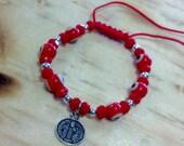 St. Benedict Baby/Toddler Red String Evil Eye Bracelet