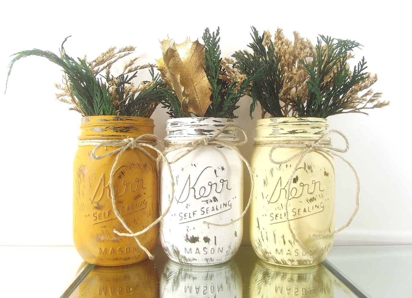 Rustic Christmas Decor Mason Jar Decor Christmas