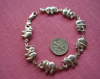 3D Sterling Silver Elephant Bracelet