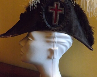 Antique Knights Templar Hat with Feathers and Cross