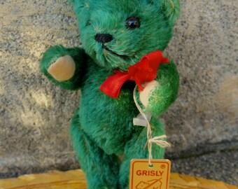 Little Shaggy Grisly Green Mohair Teddy Bear 6 inches
