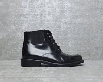 Vtg 90s Black Minimal Leather Lace Up Ankle Boots 10 EU 41