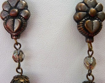 Faux metal flower findings with brass filagree beads earrings