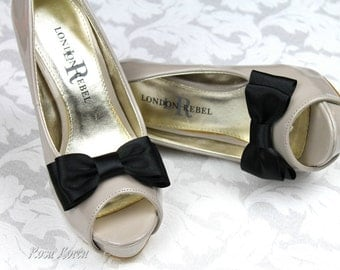 Black Shoe Bows, Black Bow Shoe Clips, Black Wedding Accessories Shoes Clip, Black Bow Clip Shoes