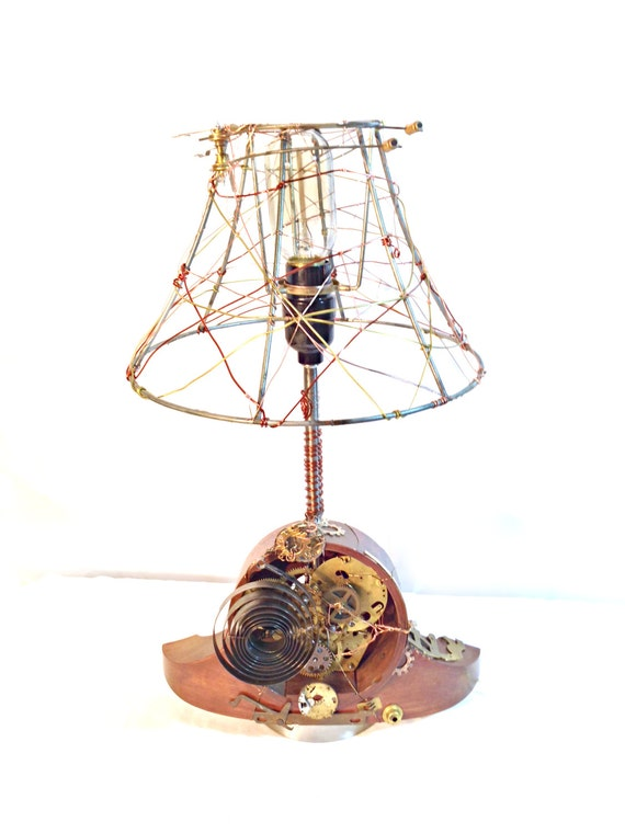 Items similar to steampunk mantle clock lamp on etsy - Steampunk mantle clock ...