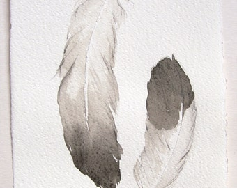 Feathers painting Original watercolor painting Small watercolors 7,5 by 11 Kitchen decor Feather illustration Black and white painting