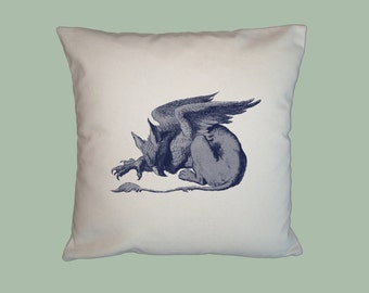 Wonderland Gryphon, Griffin, Gryphon HANDMADE 16x16 Pillow Cover - Choice of Fabric - image in ANY COLOR