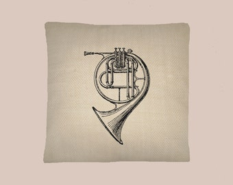 Vintage French Horn, Musical Instrument Illustration HANDMADE 16x16 Pillow Cover - Choice of Fabric