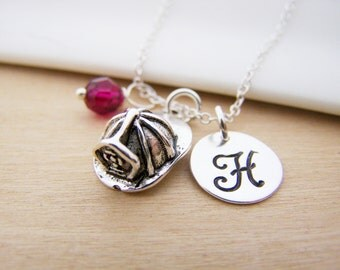 Fire Helmet Charm Swarovski Birthstone Initial Personalized Sterling Silver Necklace / Gift for Her