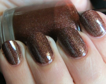 Shadow Witch Nail Polish - deep red scattered holo with smokey flakies
