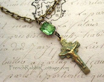 CROSS NECKLACE. VERDIGRIS Patina. Vintage Peridot Rhinestone. Catholic. Crucifix Pendant Necklace.Religious Jewelry.Green Patina. Assemblage