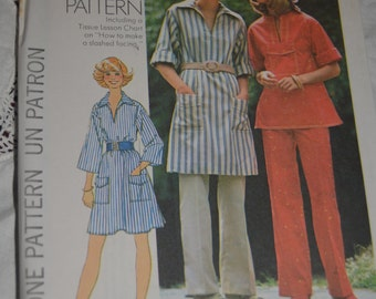 70s Simplicity 7250 Misses Pullover Dress or Top and Pants Sewing Pattern - UNCUT Size 10
