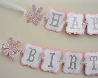 Snowflake Birthday Banner Winter Onederland, Winter Wonderland Party