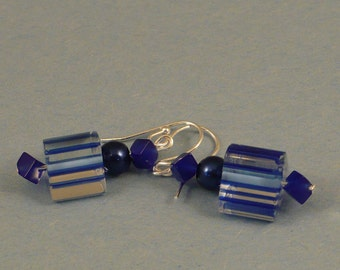 Blue Czech bead and lapis earrings.