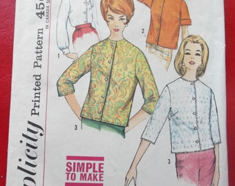 Vintage Simplicity 4464 Sewing Pattern Size 12 Bust 32 Blouses 1960s Fashions
