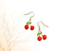 Handmade cherry earrings silver plated loop enamel cherries fruit geek Spring Rockabilly