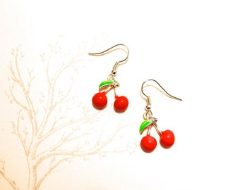 Handmade cherry earrings silver plated loop enamel cherries fruit geek Spring Rockabilly