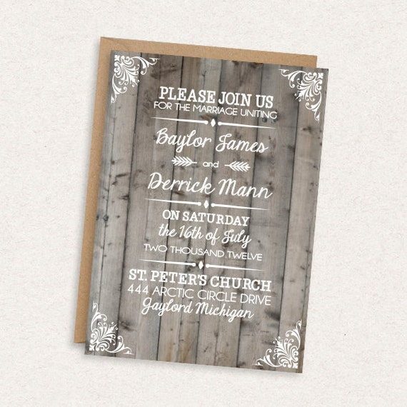 DIY Printable Wedding Invitation - Rustic - Barnwood - Driftwood - Barn Wedding - Destination Wedding - The Baylor