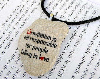 Quote necklace, quote necklace stone, Love quote stone, stone art, Love quote jewelry, quote jewel, stone necklace, Albert Einstein quote