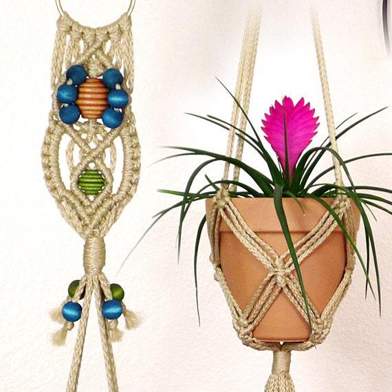 jute macrame pot holder turquoise flower 6 inch