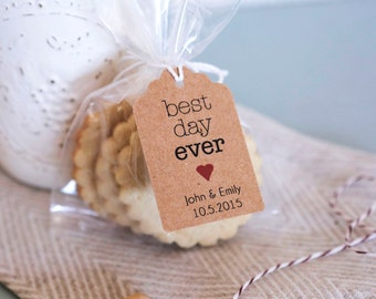 25- BEST DAY EVER Wedding Thank you Tag, Customizable Thanks Tag, Cottage Rustic Chic Thank you Tag, Shower Tag, Favor Label