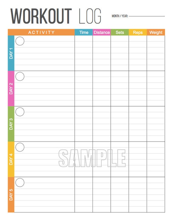 training journal template - workout log exercise log printable for health and fitness