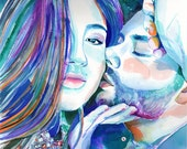COUPLE WATERCOLOR PORTRAIT from selfie from photo - 2 people painting watercolor couple portrait gift for him gift for husband gift for men