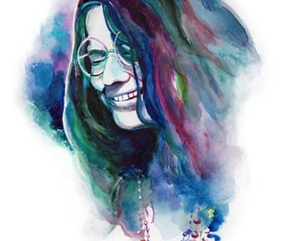 JANIS JOPLIN ART, Janis Joplin poster, Music poster, rock and roll Woodstock, Janis joplin portrait, watercolor, Janis Joplin fan art