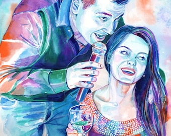 CUSTOM WEDDING GIFT - Couple watercolor portrait - groom bride portrait, special custom wedding gift for couple, paper anniversary gift