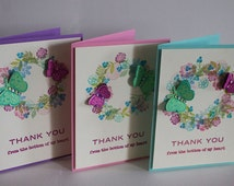 Thank You Cards- Set of 3- A2 Size Cards- Handmade- Floral Wreath & Butterfly Greeting Card