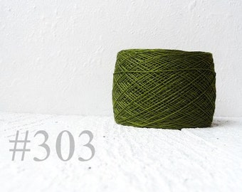 Laceweight Linen yarn - dark green # 303