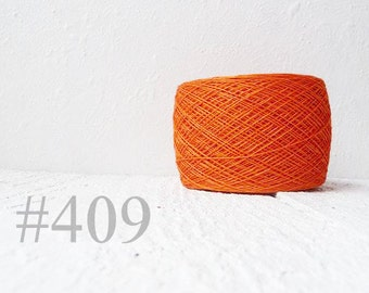 Orange Laceweight Linen yarn - tangerine tango # 409