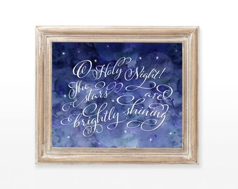 INSTANT DOWNLOAD O Holy Night Christmas printable art wall  holiday decor quote print watercolor Christian blue