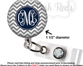 Retractable Badge Holder - Monogram Gray / Navy Chevron Badge Holder, Steth Tag, Carabiner or Lanyard  - 0328
