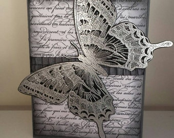 Large Swallowtail Butterfly Handmade Stamped and Embossed Blank Card.Can Be Fully Personalised.
