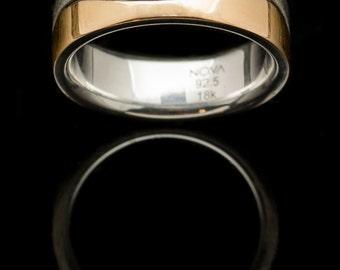 18k Rose Gold Wave Ring. Sterling Silver Ring. Sandblasted Ring. Unique Wedding Ring. Wedding Ring. Wedding band.Modern wedding Ring.