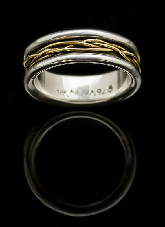 18 k Gelbgold Ring. Sterling Silber. Golddraht umwickelt Ring.