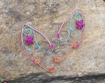 Elf Ear Cuffs - Malibu Sunset - Elven Jewelry - Starfish Jewelry - Beach Earrings - Summer Fairy - Mermaid