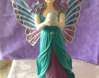 Hand Painted Angel Holding a Globe Gare Ceramic