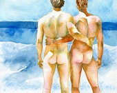 "PRINT of Original Art Work Watercolor Painting Gay Interest Male Nude ""We are one"""
