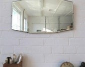 Vintage Art Deco Bevelled Edge Wall Mirror or Frameless Mirror