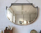 Vintage Large Art Deco Bevelled Edge Wall Mirror Lovely Shape & Chrome Frame WOW