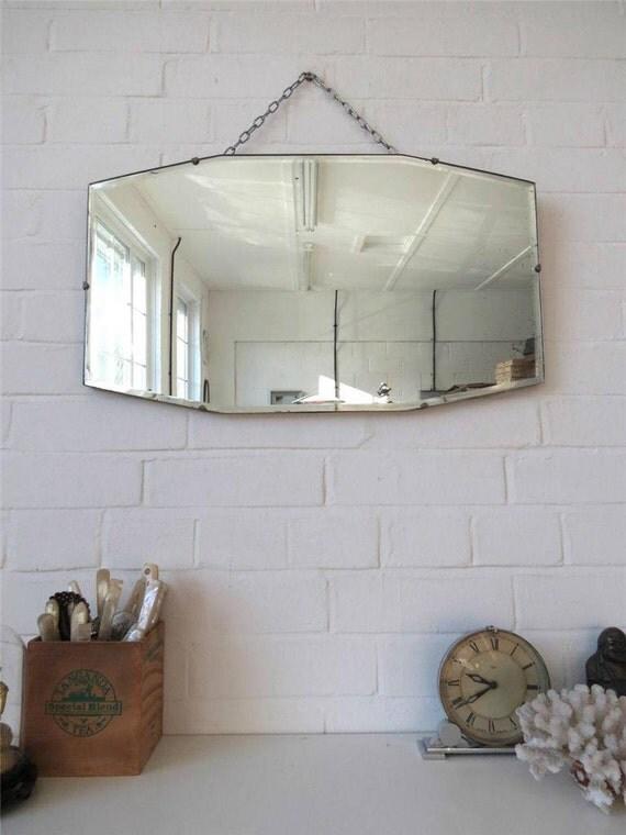 Vintage art deco bord biseaut mur ou miroir sans cadre for Miroir biseaute sans cadre