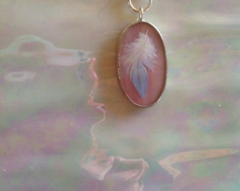 Iridescent Pink Art Glass Pendant